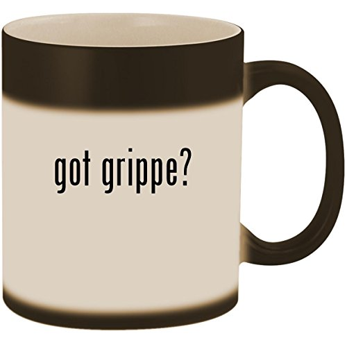 got grippe? - 11oz Ceramic Color Changing Heat Sensitive Coffee Mug Cup, Matte Black