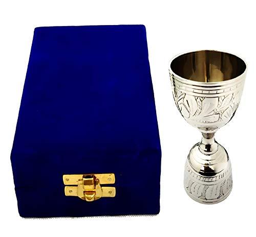 Akanksha Arts EPNS, Brass Engraved Peg Measure Cup with Decorative Box, 30 ml / 60 ml, Silver Price & Reviews
