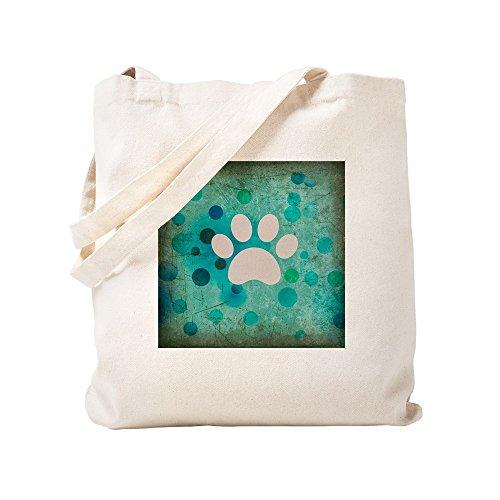 CafePress Blue Paw Dot Natural Canvas Tote Bag, Cloth Shopping Bag