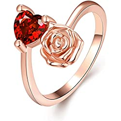 [Eternity Love] Women's Pretty 18K Rose Gold Plated Elegant Imitation Solitaire Ruby Valentine's Day gift