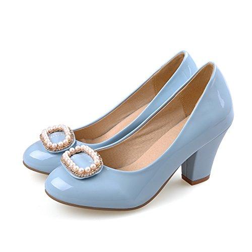 scarpe Allhqfashion Pompe Donne Blu Punta Tacchi on Vernice Pull Solido Chiusa Rotondo vT5RqR