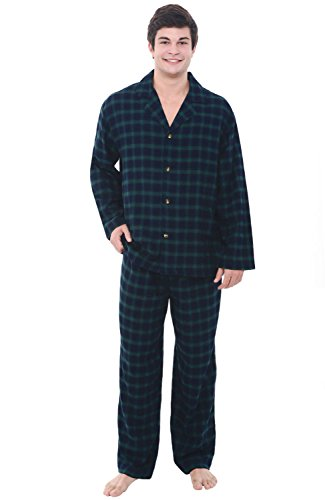 Alexander Del Rossa Mens Flannel Pajamas, Long Cotton Pj Set, 2X Blue and Green Plaid (A0544P232X) Soft Flannel Pajamas