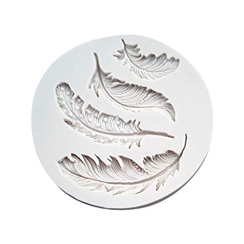 Colmkley Creative Feather Silicone Mold, Fondant, Candy, Craft or Jewelry Mold Resin, Clay, Flexible and Easy to Use, Kitchen Cooking Baking DIY Mold -
