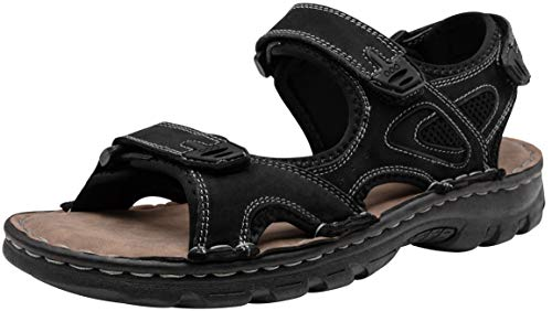 JOUSEN Men's Sandals Outdoor Open Toe Water Beach Sandal Leather Sport Sandal (13,Black) ()