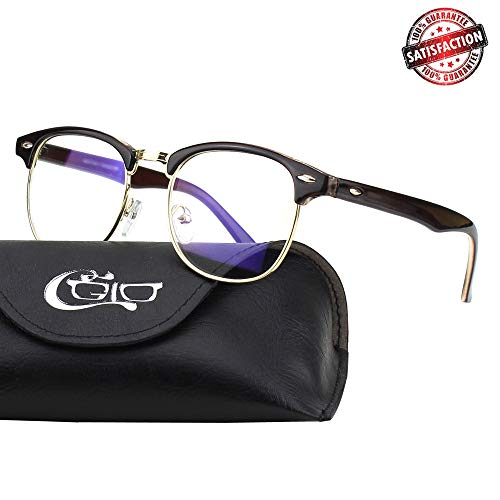 CGID CT56 Horn Rimmed Blue Light Blocking Glasses,Better Sleep,Anti Glare Fatigue Blocking Headaches Eye Strain,Great for Cell Phone Readers,Brown Frame,Transparent ()