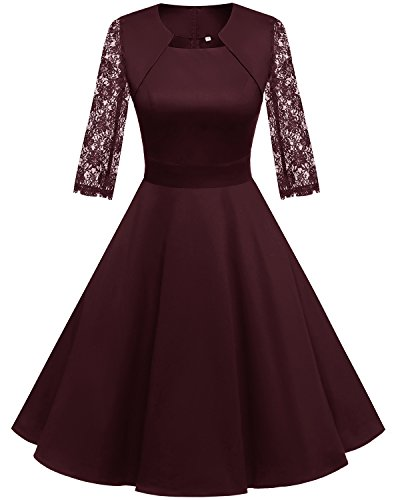 Homrain Women's 1950s Retro Vintage A-Line Long Sleeves Cocktail Swing Party Dress Burgundy-B 3XL ()