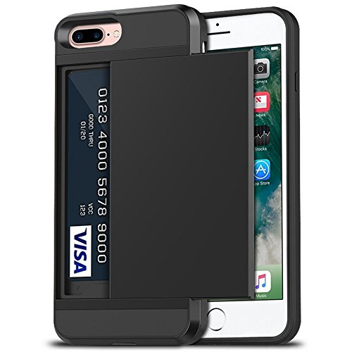 iPhone 7 Plus Case, iPhone 8 Plus Case, Anuck Shockproof iPhone 7/8 Plus Wallet Case [Card Pocket][Slide Cover] Anti-scratch Protective Shell Armor Rubber Bumper Case with Card Slot Holder - Black
