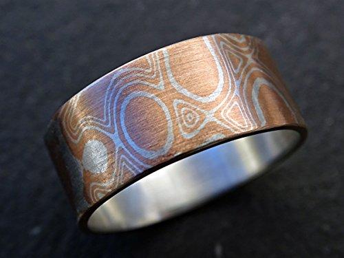 Mokume Wedding Ring - mokume gane rings mens, mens mokume ring, mokume gane mens ring, mokume wedding band, mokume gane wedding band mens wood grain ring
