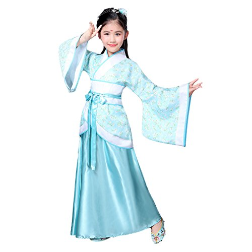 Ez-sofei Girls Ancient Chinese Han Dynasty Traditional Costume Set Hanfu Dresses (140, E-Blue) -