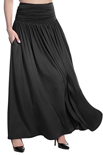 BEAUTYTALK Women's Rayon Spandex Layered Maxi Skirt with Pockets (Black,Large)