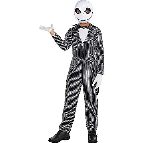 The Nightmare Before Christmas Jack Skellington Pinstripe Halloween Costume for Boys, Large,with Accessories -