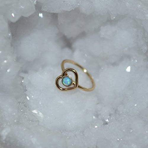 Amazon Com Gold Heart Nose Ring Hoop Nose Stud Blue Opal
