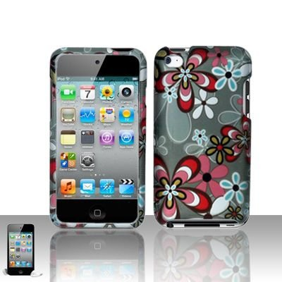 Pink White Flower Blue Daisy Design Rubberized Snap on Hard Cover Protector Faceplate Case for Apple Ipod Touch 4 4th Gen. touch4 + LCD Screen Guard Film (Free iTuffy Flannel Bag)
