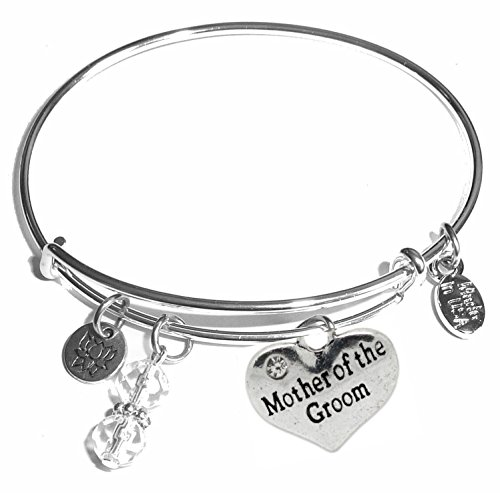 Message Charm (22 words to choose from) Expandable Wire Bangle Bracelet, in the popular style, COMES IN A GIFT BOX! (Mother of the Groom) ()