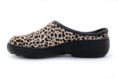 Pajar Womens Chalet Clog Beige Leopardo