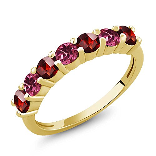 Gem Stone King 1.45 Ct Round Checkerboard Red Garnet Pink Tourmaline 18K Yellow Gold Plated Silver Anniversary Ring (Size 9)