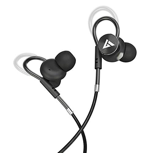 Boult Audio BassBuds Loop in-Ear Wired Earphones with Mic and Deep Bass HD Sound Mobile Hedset with Noise Cancellation and Customizable Ear Loop (Blac