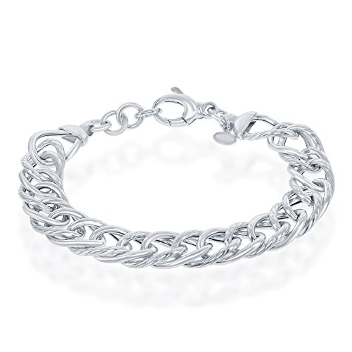 Sterling Silver Italian Polished and Rope Design 7+1