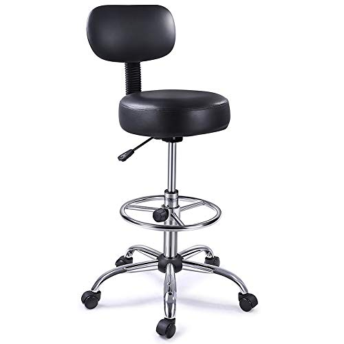 SUPERJARE Drafting Chair with Adjustable Foot Rest, Rolling Swivel Stool with Backrest for Home/Office, Black