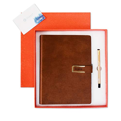 A5 Leather Refillable Notebook Gift Set,SAYEEC Pen and Notebook Journal Set PU Leather Loose Leaf Binder Writing Journal Executive Diary Planner Lined Paper Business Notebook Brown