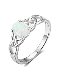ACEFEEL Oval Lab Created White Opal Celtic Knot 925 Sterling Silver Band Ring
