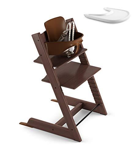 Stokke 2019 Tripp Trapp Walnut Brown High Chair & White Tray Bundle
