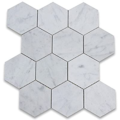 Carrara White Italian Carrera Marble Hexagon Mosaic Tile 4 inch Honed from Stone Center Online