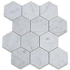 Premium Grade White Carrara Marble Hexagon Mosaic tiles. Italian Bianco Carrera White Venato Carrara Honed 4 inch Hex Mosaic Wall & Floor Tiles are perfect for any interior/exterior projects. The 4 inch Carrara White Marble Big Hexagon Mo...