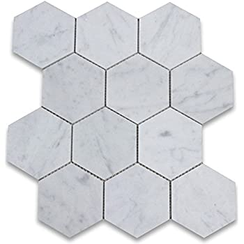 Carrara White Bianco Carrera Hexagon Mosaic Tile Polished - 10 inch hexagon tile
