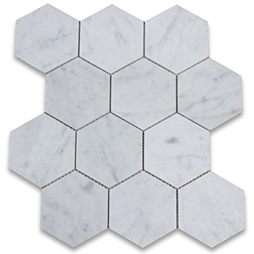 Hexagon Floor Tiles - Carrara White Italian Carrera Marble Hexagon Mosaic Tile 4 inch Honed