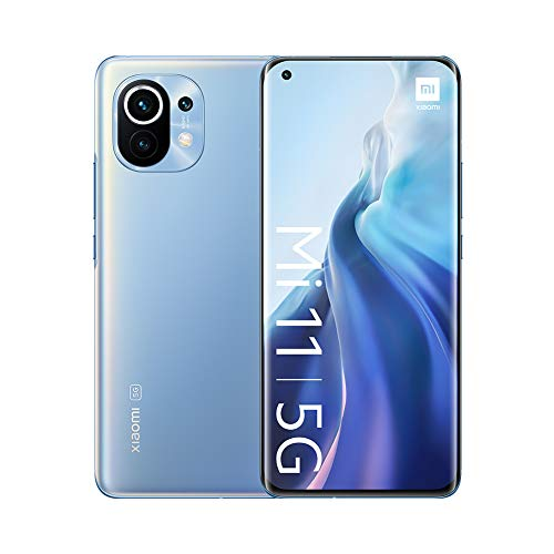 "Xiaomi Mi 11 5G - Smartphone 8GB+128GB, 6.81"" WQHD + AMOLED DotDisplay, Qualcomm Snapdragon 888, cámara triple de 108MP+13 MP+5MP, 4600 mAh, NFC, Horizonte Azul (Versión oficial)"