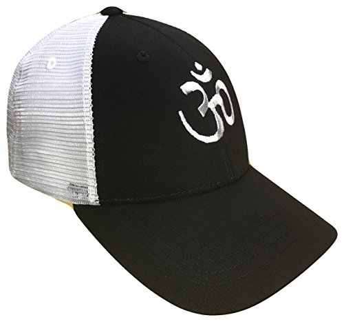 The Hat Shoppe Sacred Om Symbol Mid Profile Mesh Golf Trucker Cap(Black/White, One Size)