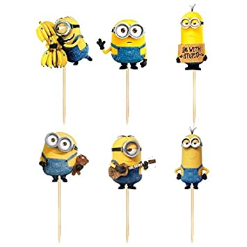Cake Topper 24pcs Cartoon Minions Cupcake Toppers Baby