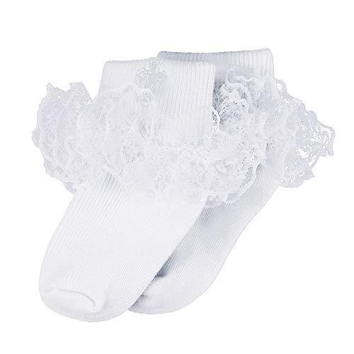 Infant Ruffle Socks - Infant Baby Girls Baptism Christening White Ruffle Cotton Frilly Embroidered Cross Socks, 6-12 Months