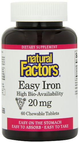 Natural Factors croquer Comprimés 20mg de fer Facile, 60-Count