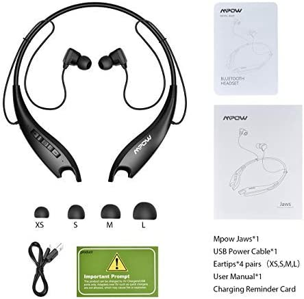 Mpow Jaws Gen5 Bluetooth Headphones 18H Playtime for Work from Home, V5.0 Wireless Neckband Headphones Online Teaching & Conference, Bluetooth Headset Call Vibrate & CVC6.0 Noise Cancelling Mic, Black