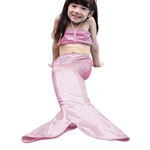 Highdas muchachas 3pcs cabestro apta para nadar cola de la sirena del mar-criada del traje de ba?o Traje de Fantas¨ªa rosa