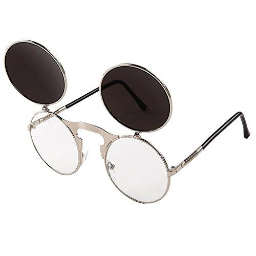 Cercle soleil Hommes Revêtement rond Bleu Steampunk Argent Rétro de Miroir Sunglasses Vintage Cadre Lens Femmes Lunettes pTvH0q