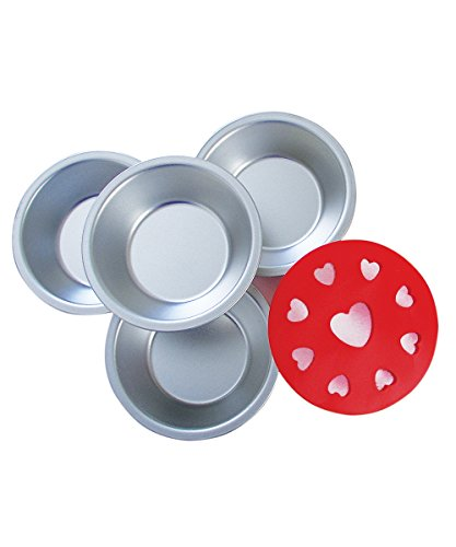 R&M International 2736 Mini Pie Pan and Decorative Heart Topper Cutter Set, Includes 4 Pans and 1 Topper