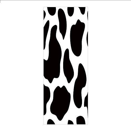 Decorative Privacy Window Film/Hide of a Cow with Black Spots Abstract and Plain Style Barnyard Life Print Decorative/No-Glue Self Static Cling for Home Bedroom Bathroom Kitchen Office Decor Black Whi ()