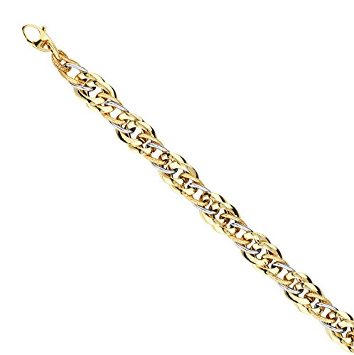 14k Two-tone Gold Bracelet with Mixed Style White and Yellow Gold (Double Link White Gold Bracelet)