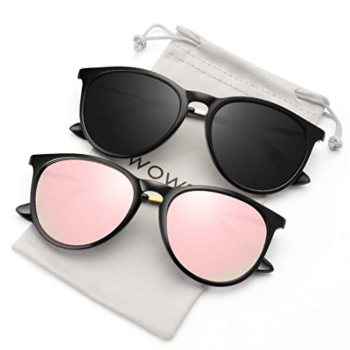 WOWSUN Polarized Sunglasses for Women Vintage Retro Round Mirrored Lens 2 PACK Black Frame Grey Pink mirror sun glasses ()