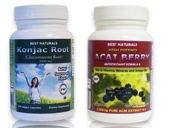Meilleures Naturals racine Konjac Glucomannan Racine, 2000 Mg, 180 Caps & Vegi meilleures Naturals Haute Puissance Acai Berry, 1200 Mg, 60 Caps