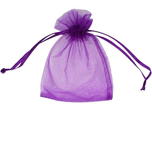 ATCG 100pcs 3x4 Inches Drawstring Organza Pouches Wedding Party Jewelry Favor Gift Candy Bags (PURPLE) -