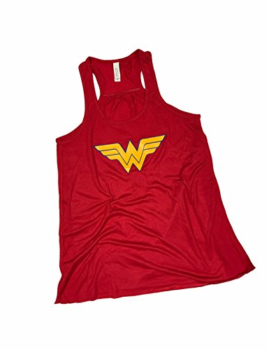 Devious Apparel 'Wonder Woman' Flowy Women's Tank Top - Glitter Polyester Blend Cover up (XXL, Red Yellow) -