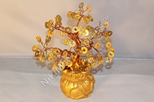 ORIENTAL FENG SHUI BRASS GOOD LUCK GOLDEN COINS MONEY TREE on Treasure Pot (Brass Hall Tree)