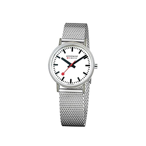 Mondaine Women's Classic 30 mm Watch with Stainless Steel Polished Case White Dial and milanaise mesh Bracelet Strap A658.30323.11SBV (White Dial Polished)