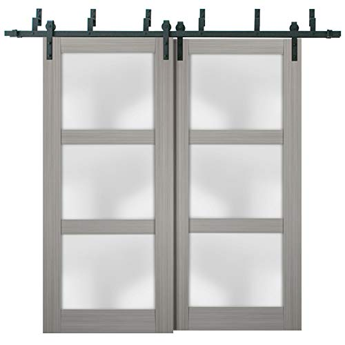 Sliding Closet Frosted Glass Barn Bypass Doors 84 x 96 inches   Lucia 2552 Grey Ash   Sturdy Top Mount 8ft Rails…