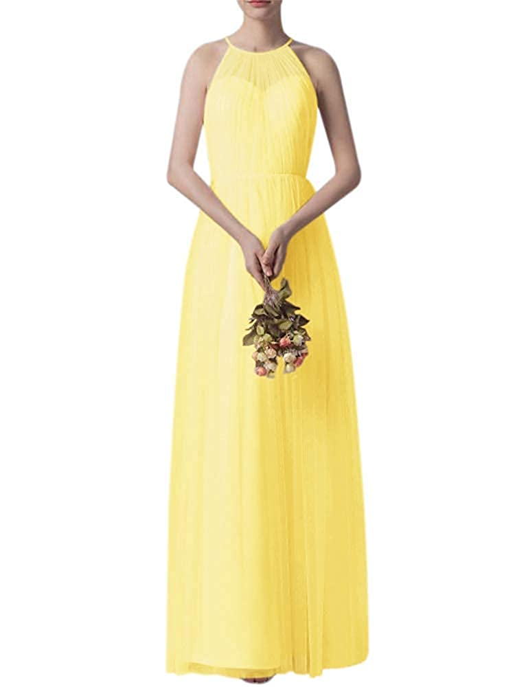 Yellow Bridesmaid Dress Women's Ruffle Tulle Wedding Cocktail Party Dresses