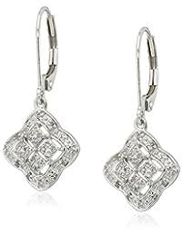 10k White Gold Clover Square Diamond Drop Earrings (1/10cttw, I-J Color, I2-I3 Clarity)